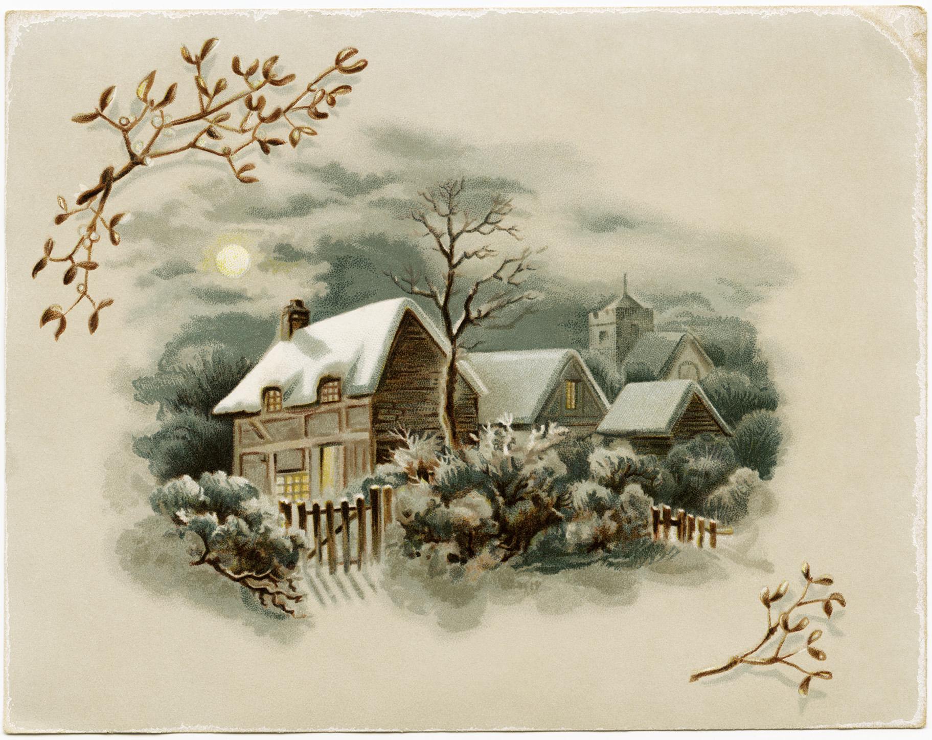 Зимняя старинная открытка, для девушки веселые